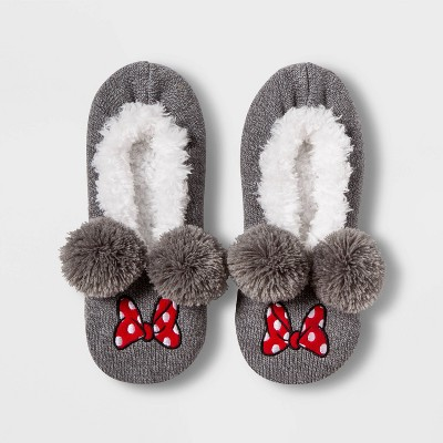 Women's Minnie Mouse Pull-On Slipper Liner Socks - Gray One Size