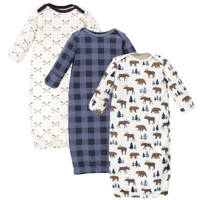 Hudson Baby Infant Boy Quilted Cotton Long-Sleeve Gowns 3pk, Moose Bear, 0-6 Months