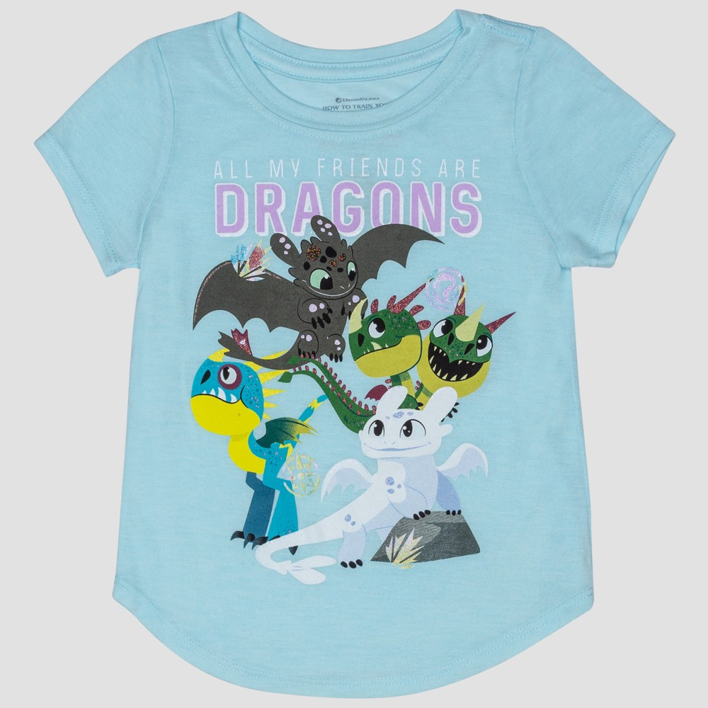 Toddler Girls' How to Train your Dragon Short Sleeve T-Shirt - Blue 5T