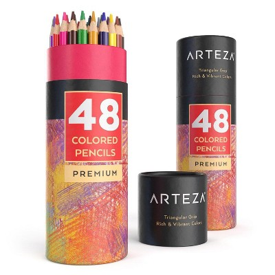 Arteza Colored Pencils Art Supply Set, Soft Wax-Based Core - 48 Vibrant Colors
