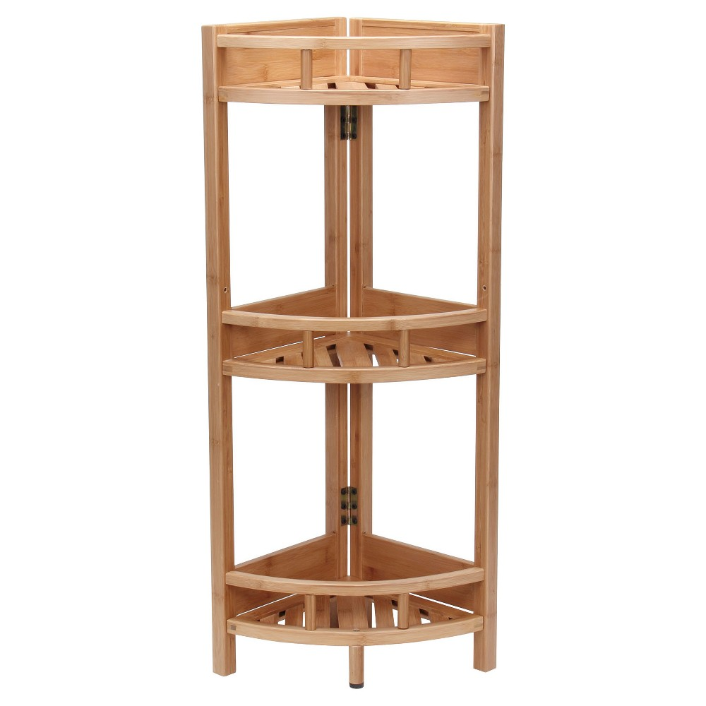 Household Essentials 3-Tier Corner Shelf Unit - Light Brown