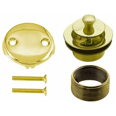 Westbrass 1.5 Inch Diameter Round Twist & Close Drain Bathtub Trim Set with 2-Hole Faceplate, Polished Brass