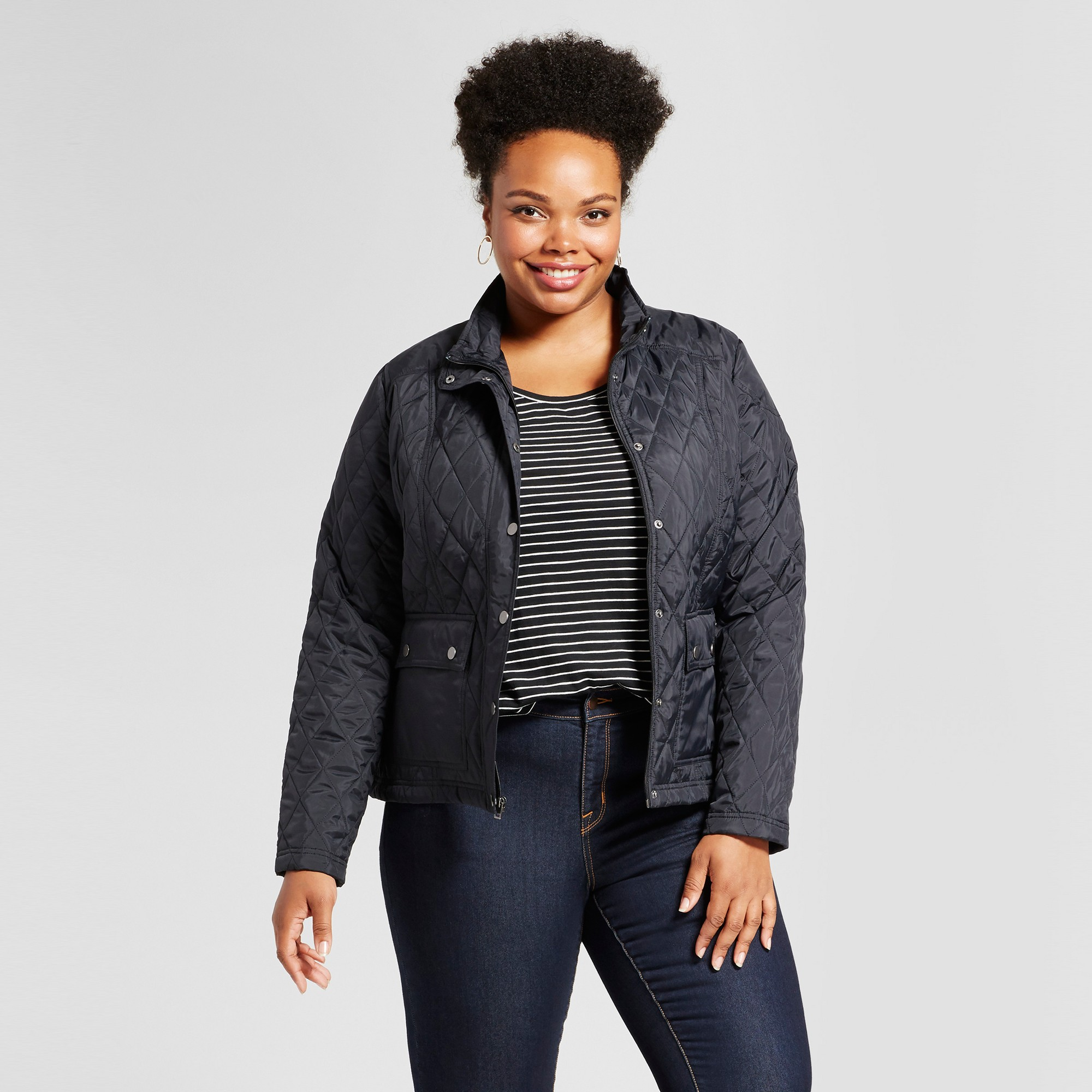 Women's Plus Size Quilted Jacket - Ava & Viv Black 1X