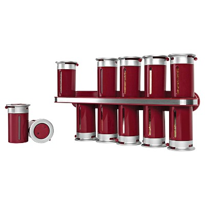 Zevro Zero Gravity™ Wall-Mount 12 Canister Magnetic Spice Rack - Red