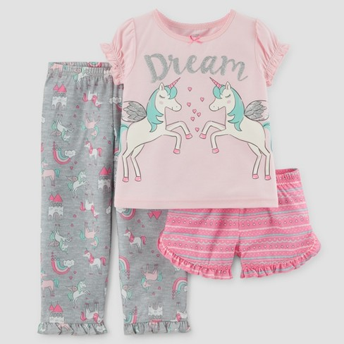 adec5aa6c980 Toddler Girls  3pc Short Sleeve Dream Unicorn Pajama Set - Just One ...
