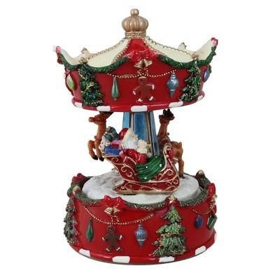 "Northlight 6.5"" Red Animated Musical Santa and Reindeer Carousel Christmas Music Box"