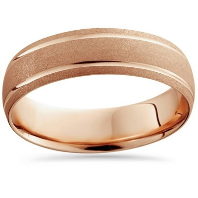 Pompeii3 14K Rose Gold Mens Brushed Double Line Wedding Band 6mm Wide Ring