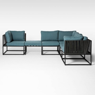 6pc Outdoor Cord Modular Sectional - Blue - Saracina Home