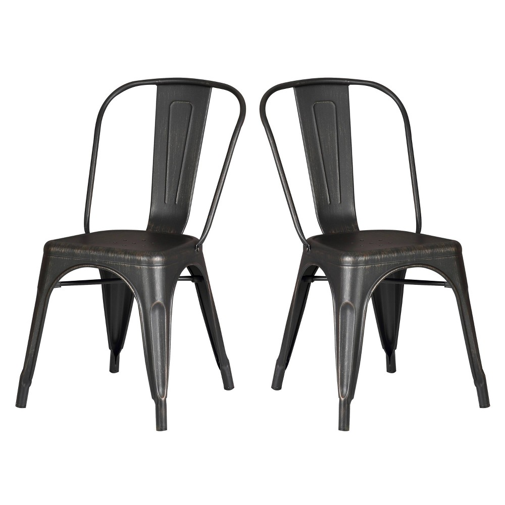 Set Of 2 Modern Metal Dining Chairs Distressed Black Ac Pacific