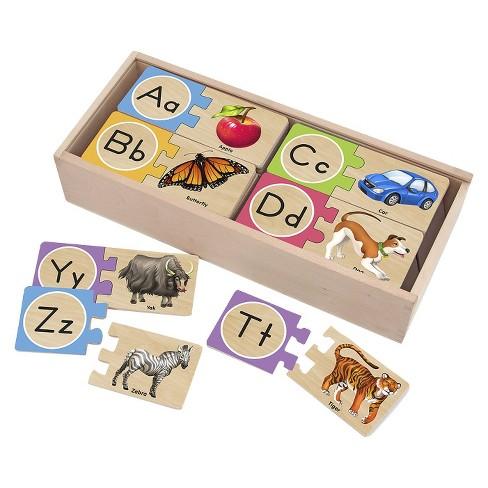 Melissa & Doug® Self-Correcting Alphabet Wooden Puzzles With Storage Box 27pc - image 1 of 4