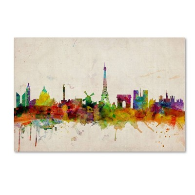 "22"" x 32"" Paris Skyline by Michael Tompsett - Trademark Fine Art"