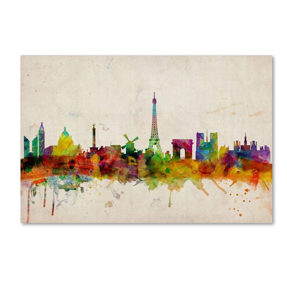 22 34 X 32 34 Paris Skyline By Michael Tompsett Trademark Fine Art