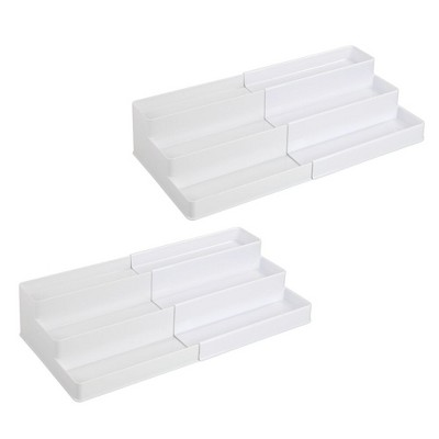 mDesign Expandable Kitchen Cabinet, Pantry Organizer/Spice Rack, 2 Pack