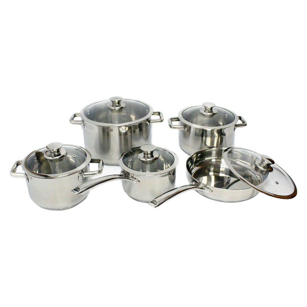 Image of Gourmet Chef 10 Piece Stainless Steel (Silver) Cookware Set