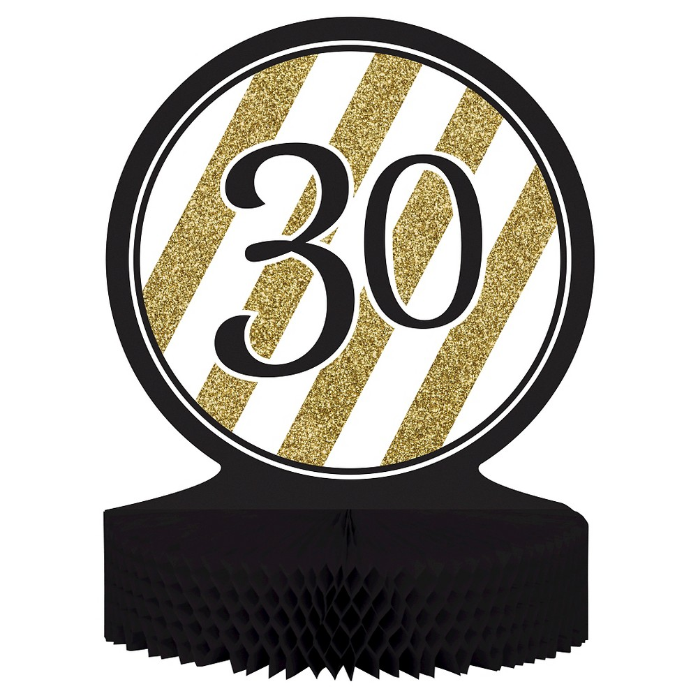 Black & Gold 30th Birthday Centerpiece