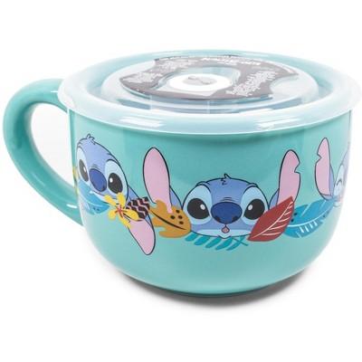 Silver Buffalo Disney Lilo & Stitch Aloha Ceramic Soup Mug With Vented Lid   Holds 24 Ounces