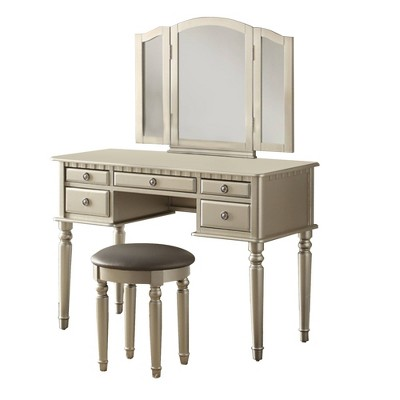 Commodious Vanity Set Featuring Stool And Mirror - Benzara