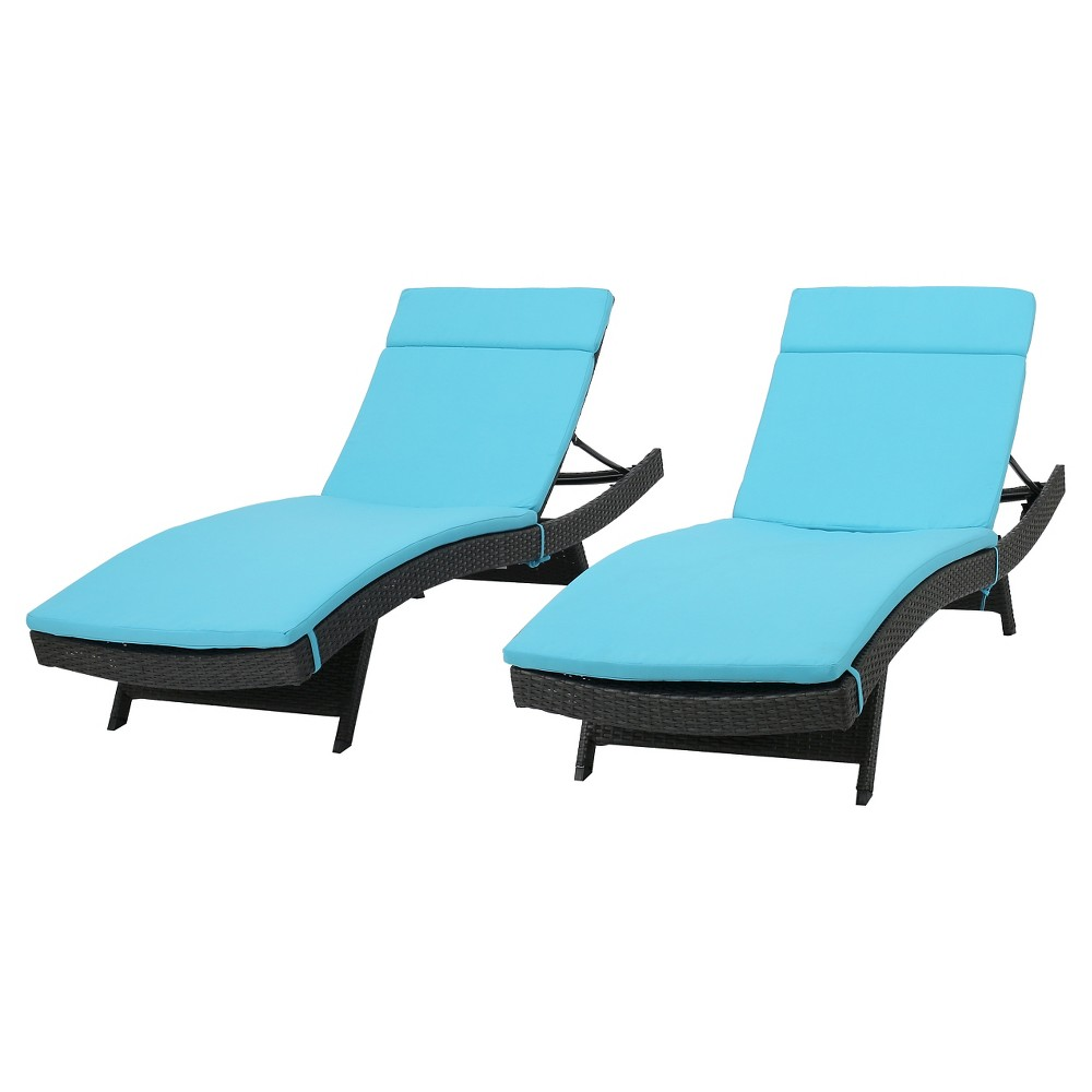 Salem Set Of 2 Gray Wicker Adjustable Chaise Lounge Blue Christopher Knight Home
