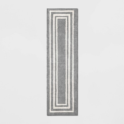 2'X7' Tetra Border Runner Gray/Ivory - Threshold™