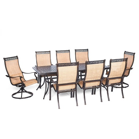Hanover Manor 9-Piece Outdoor Dining Set with Two Swivel Rockers - image 1 of 1