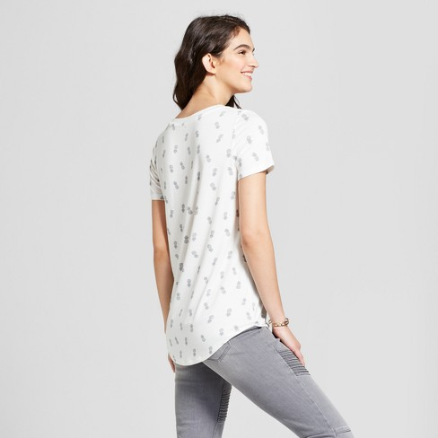 c87fbbef Women's Pineapple Tossed Print Criss-Cross V-Neck Short Sleeve Graphic T- Shirt - Zoe+Liv (Juniors') Ivory : Target
