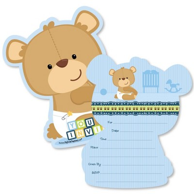 Big Dot of Happiness Baby Boy Teddy Bear - Shaped Fill-in Invitations - Baby Shower Invitation Cards with Envelopes - Set of 12