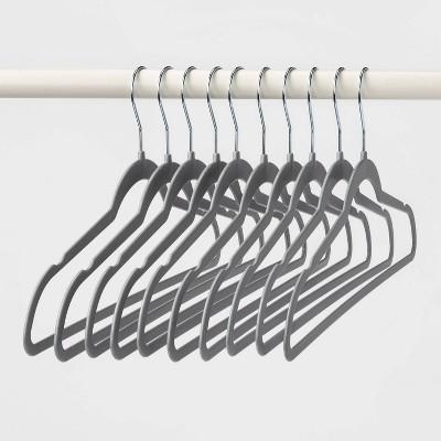 10pk Thin Plastic Hangers Gray - Room Essentials™