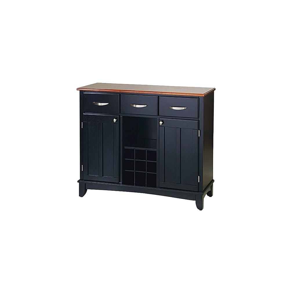 Hutch Style Buffet Wood Black Oak Home Styles