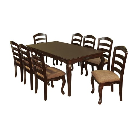 9 Piece Floral Accented 78 Dining Table Set Wood Dark Walnut
