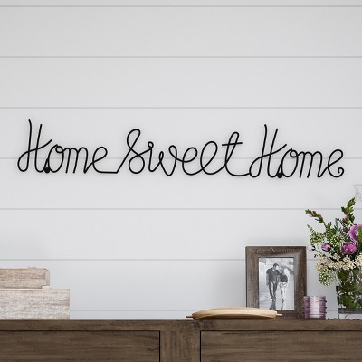 Home Sweet Home  Cursive Metal Cutout Sign Black - Lavish Home