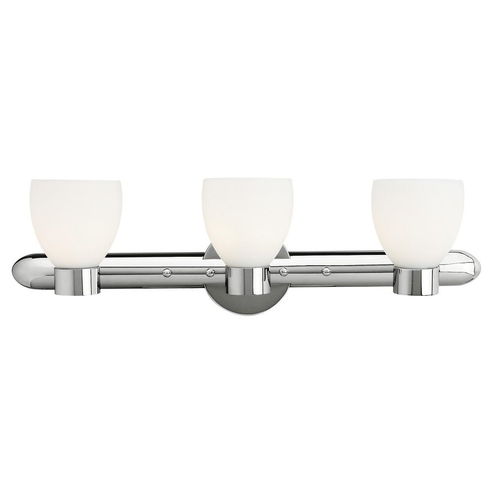 Frisco 3-Light Bath with Opal Glass Shade - Chrome, Silver