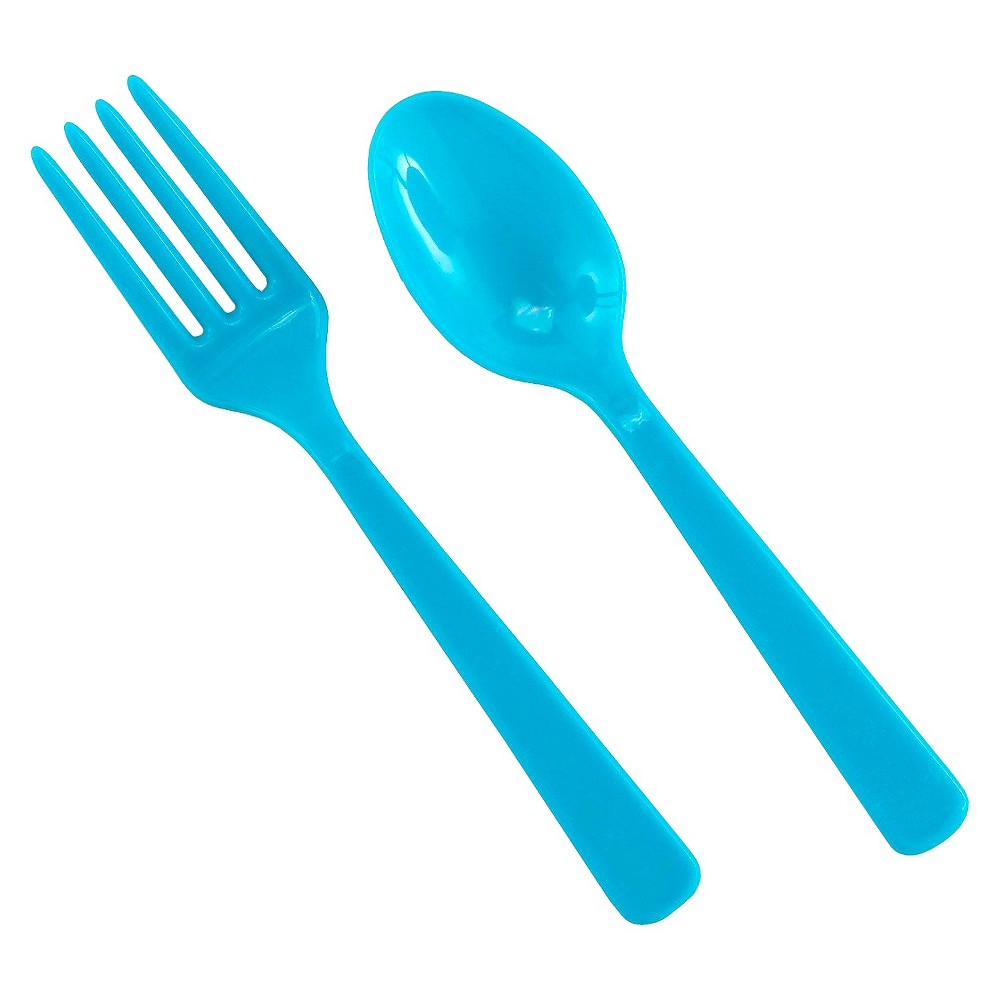 16ct Disposable Fork & Spoon Set, Blue