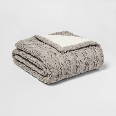 Solid Cable Knit Chenille with Sherpa Reverse Throw Blanket Gray - Threshold™