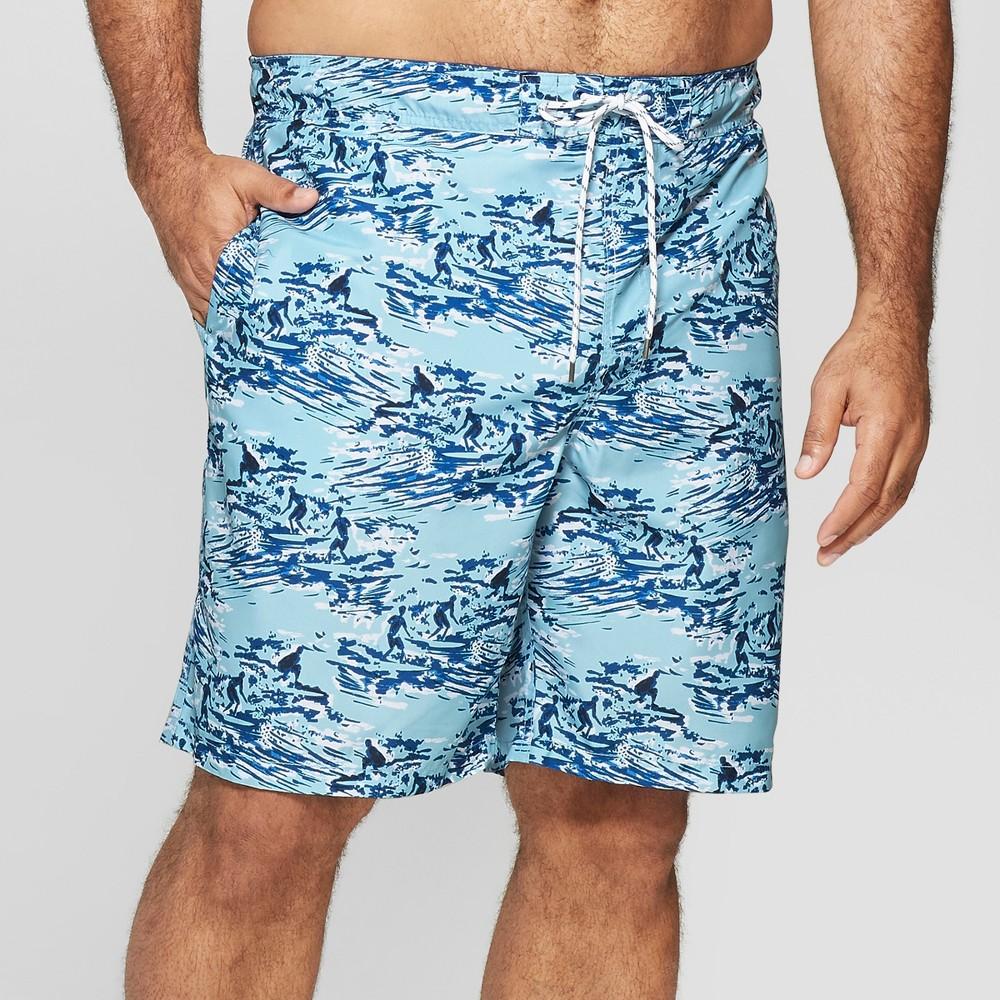 Men's Big & Tall 9 Surfboard Print Swim Trunks - Goodfellow & Co Blue 2XB