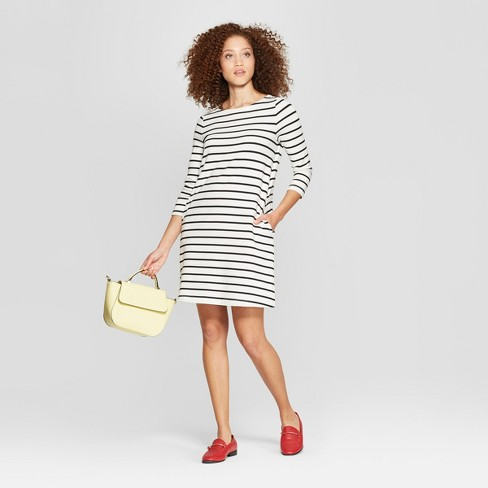 Women's Striped Casual Fit 3/4 Sleeve Crew Neck Knit Dress - A New Day™ - image 1 of 3