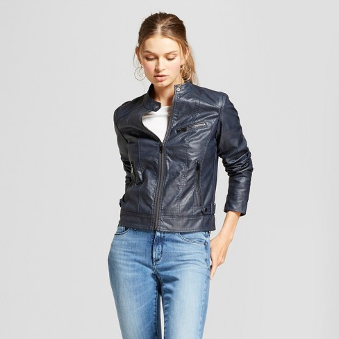 Women's Moto Jacket - A New Day™ Navy - image 1 of 2