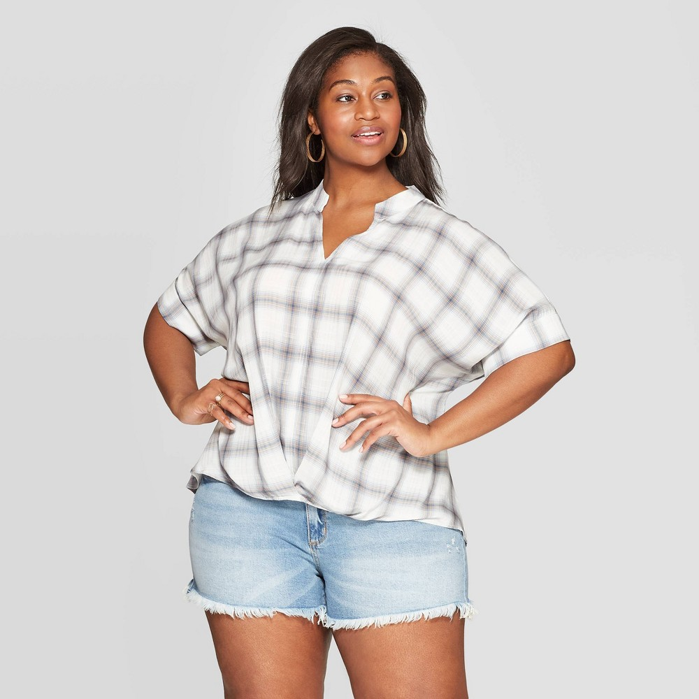 Women's Plus Size Plaid Short Sleeve V-Neck Wrap Front Top - Universal Thread Blue X