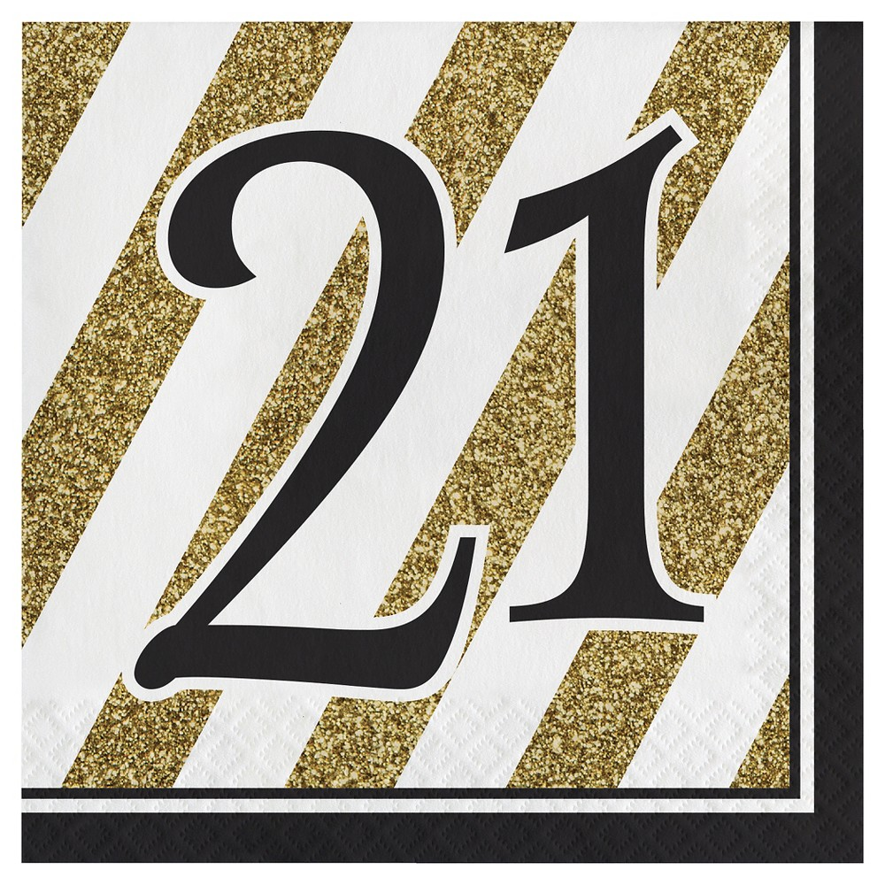 Image of 16ct Black & Gold 21st Birthday Napkins