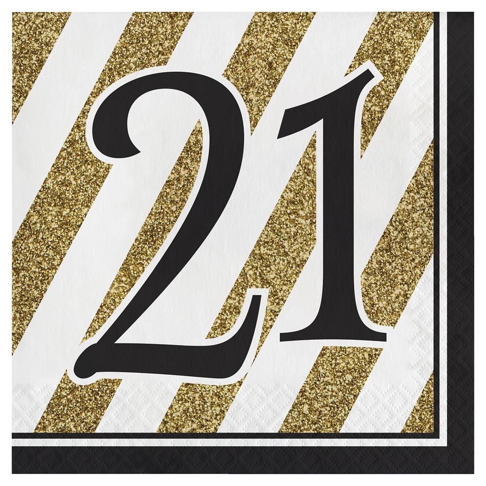 16ct Black & Gold 21st Birthday Napkins