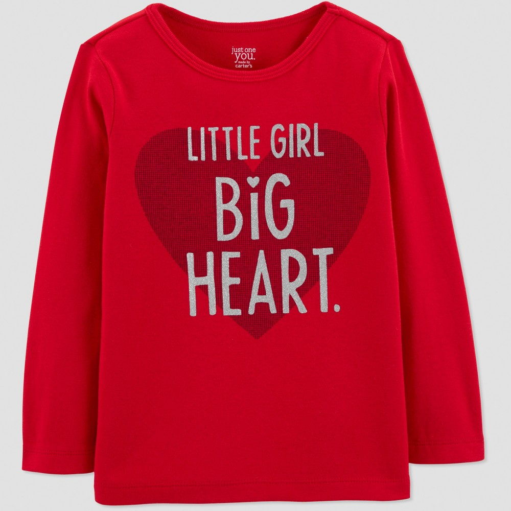 Toddler Girls' Valentines Long Sleeve T-Shirt - Just One You made by carter's Red 5T