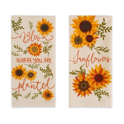 2pk Cotton Sunny Sunflowers Dishtowel Set - Design Imports