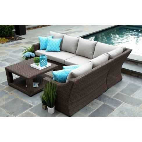 Alder 5pc Sunbrella Sectional Set Beige - Canopy Home and Garden