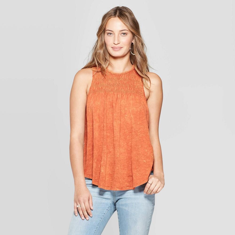 Women's Sleeveless Crewneck Smocked Tank Top - Universal Thread Orange S