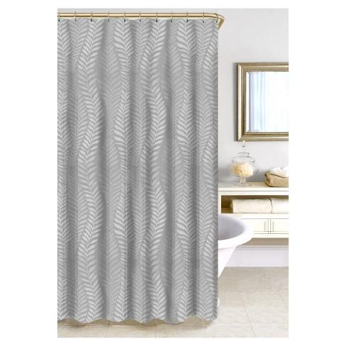 Metallic Fern Jacquard Shower Curtain Gray