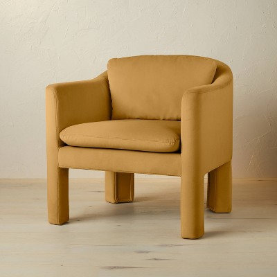 Linaria Fully Upholstered Velvet Accent Chair Mustard - Opalhouse™ designed with Jungalow™