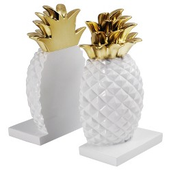 Pineapple Bookends, White/Gold - Threshold™