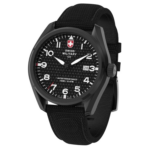 Men's Swiss Military by Charmex Pilot black tone fabric band watch - Black - image 1 of 2