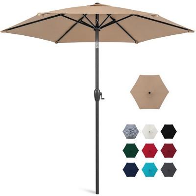 Best Choice Products 7.5ft Heavy-Duty Outdoor Market Patio Umbrella w/ Push Button Tilt, Easy Crank Lift