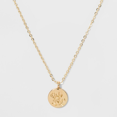 Mini Disc with Embossed Floral Pendant Necklace - Wild Fable™ Gold - image 1 of 2