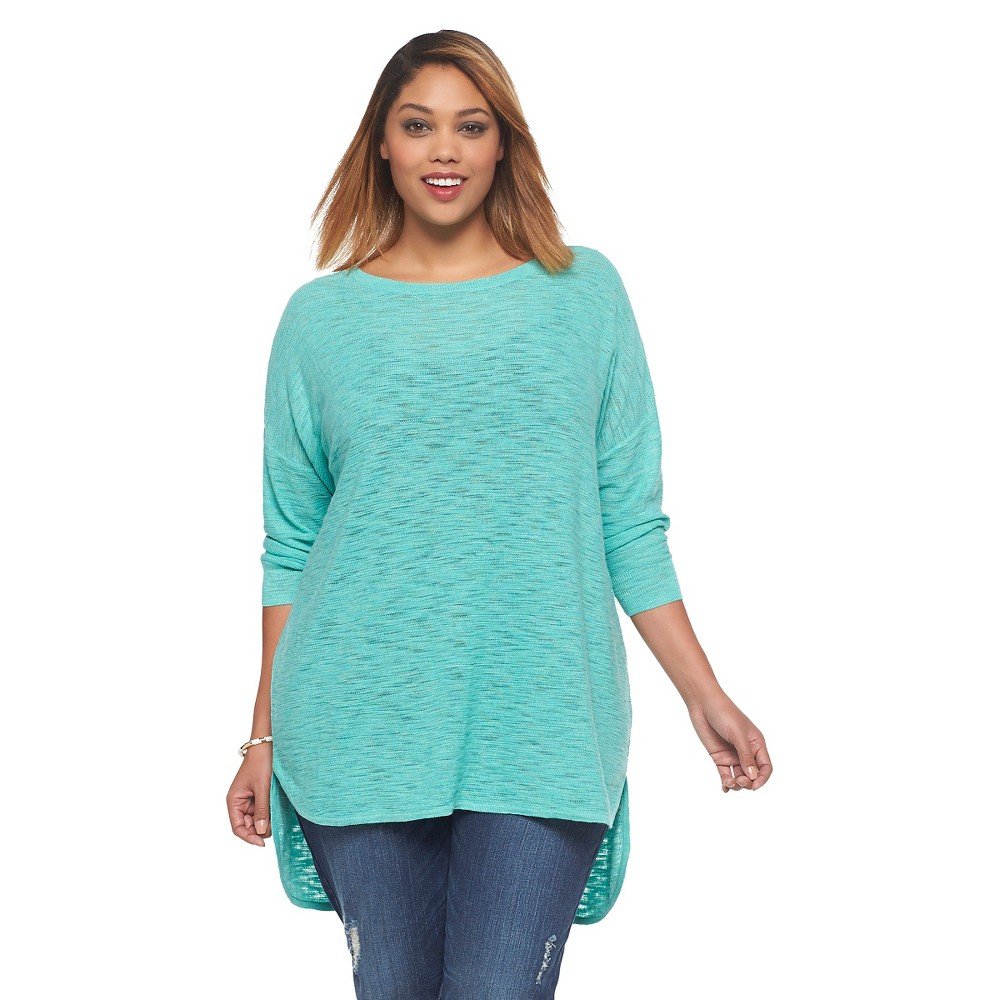 Women's Plus Size 3/4 Sleeve Crew Neck Pullover Sweater - Ava & Viv Jade 1X, Jade Haze